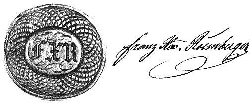 Pečetidlo a podpis F.X. Rosenbergera (ze sbírky Ludwiga Rosenbergera)