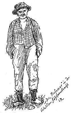 Rudolf Kubitschek coby drvoštěp na kresbě Ludwiga Rosenbergera
