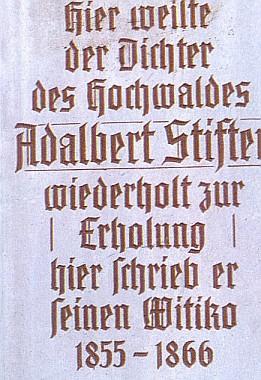 Pamětní deska na rodovém statku Rosenberger Gut v detailu...