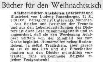 ... Knihu doporučil před Vánocemi 1953 list Sudetendeutsche Zeitung jako vhodný vánoční dárek