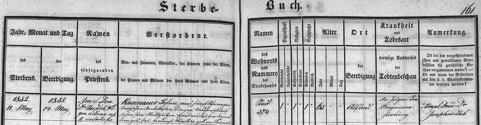 Záznam českobudějovické úmrtní matriky o skonu jeho otce