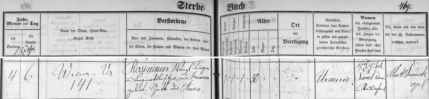 Záznam o jeho úmrtí v českobudějovické knize zemřelých