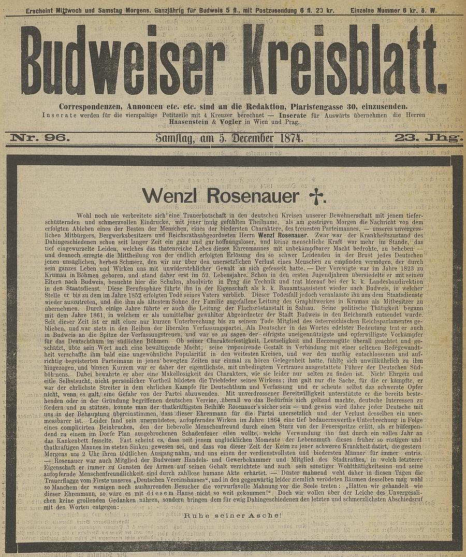 ... a výrazný nekrolog na titulní straně českobudějovického německého listu