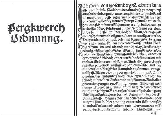 Titulní list (1515) a úvodní strana Petrova Horního řádu