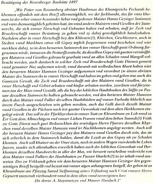 Text německého originálu Petrova listu, týkajícího se založení tak řečené rožmberské stavební huti v Českém Krumlově...