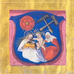 Vyobrazení hornického znaku na listě krále Ludvíka hornímu bratrstvu v Českém Krumlově z 20. ledna 1526, tedy ani ne tři roky po Petrově skonu