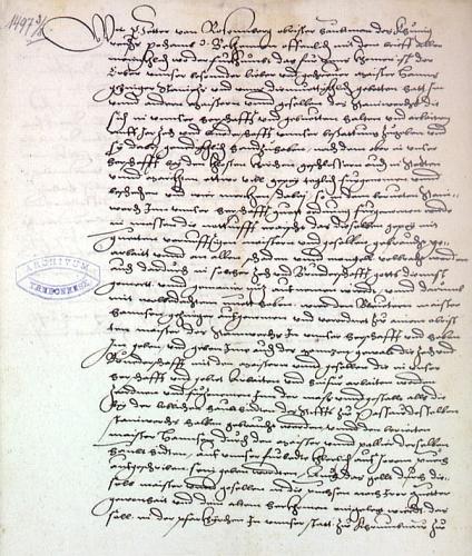 List Petra IV. z Rožmberka z roku 1497 se jmenováním Hanse Getzingera vrchním mistrem kamenického cechu v Českém Krumlově