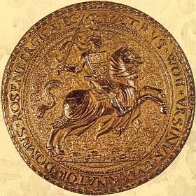 Jezdecká pečeť Petra Voka z Rožmberka