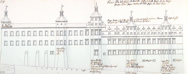 Rožmberský palác na Pražském hradě na kresbě Thomase Haffeneckera z roku 1722