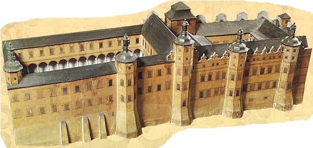 Rožmberský palác na Pražském hradě před přestavbou na Ústav šlechtičen na modelu, zhotoveném v roce 1947 pro výstavu Pražský hrad v renesanci a baroku