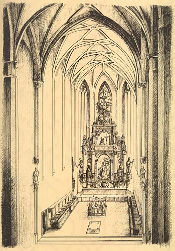 Rekonstrukce rožmberského mauzolea včeskokrumlovském chrámu sv. Víta - alabastrový jezdec na vrcholu retáblu byl odstraněn jezuity už krátce po smrti Petra Voka někdy před rokem 1615