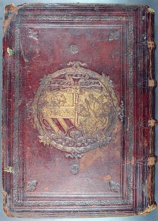 Tlačené supralibros na přední a zadní straně desek lipského vydání knihy Heinricha von Rantzau De conservanda valetudine... (tj. O zachování zdraví...) z roku 1585