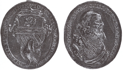 Úmrtní medaile posledního Rožmberka z roku 1611, dílo Abrahama Schmelze, uchovávaná ve sbírkách Národního muzea v Praze