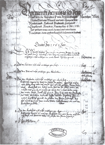 Začátek jím diktovaných německy psaných cestopisných záznamů z výpravy do Nizozemí z roku 1562, uchovávaných vrukopisném fondu Státního oblastního archivu v Třeboni