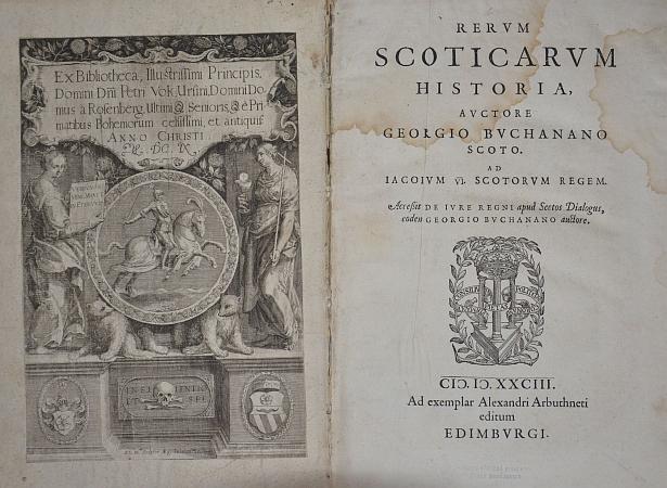 Supralibros a exlibris v edinburském vydání Buchananovy Rerum Scoticarum Historia z roku 1583. které bylo součástí Rožmberské knihovny