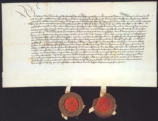 Už Jan III. z Rožmberka (1484-1532), nejvyšší převor českých johanitů a osmý vladař domu Rožmberského, uděluje touto německy psanou listinou z 18. května roku 1528 městečku Vyšší Brod právo užívat městskou pečeť