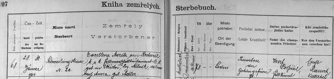 """Českobudějovická Kniha zemřelých uvádí jeho jméno v záznamu úmrtí titulem """"Excellenz"""", jako místo uložení do hrobu je uvedeno Mladé (Lodus)"""