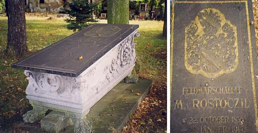 Hrobka na hřbitově v Mladém a náhrobní deska s erbem ještě na konci 20.století...
