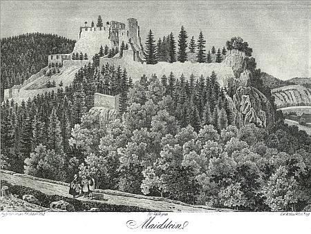 Hrad Dívčí Kámen na rytině z knihy Burgen in Böhmen und Mähren (1845) Franze Alexandra Hebera (viz i Franz Ferdinand Runk)...