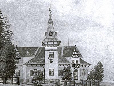 Zámeček Jalový Dvůr, zbořený po roce 1970, na obraze zroku 1960