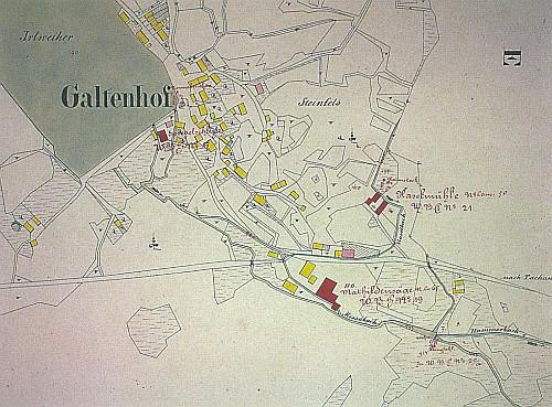 """Stará mapa """"stabilního katastru"""" Branka i s velkým rybníkem Irlweiher"""