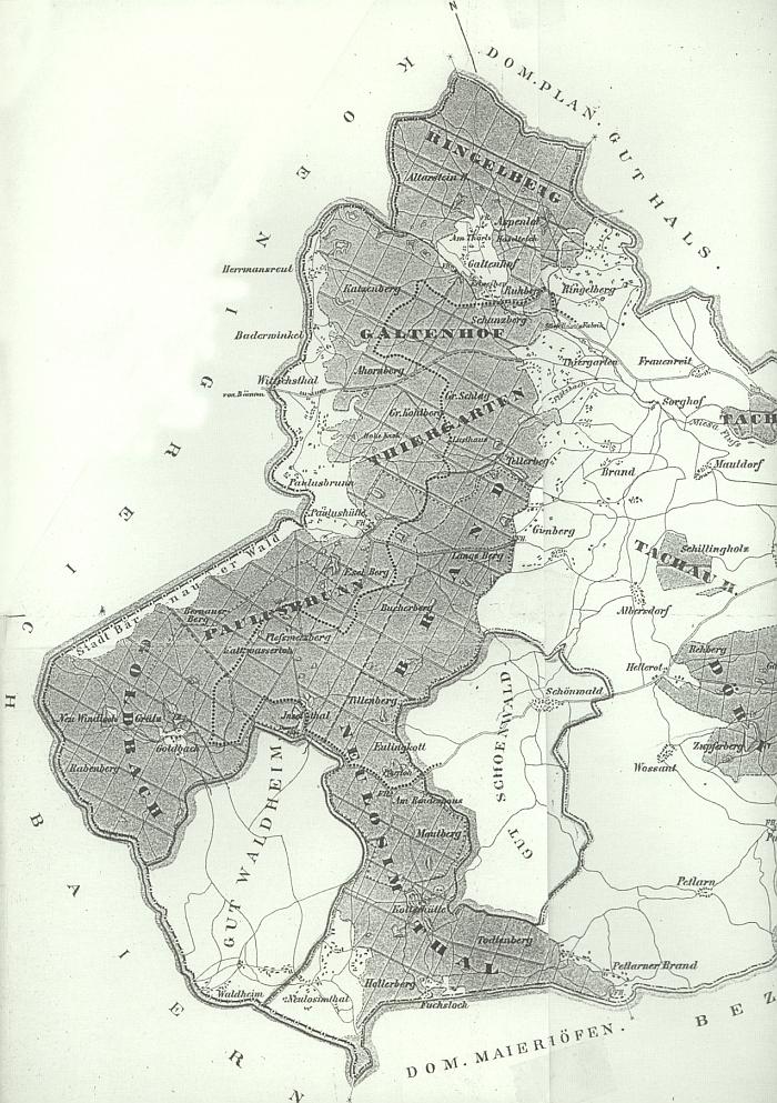 Jalový Dvůr (Galtenhof) na mapě příhraniční části velkostatku Tachov z roku 1872
