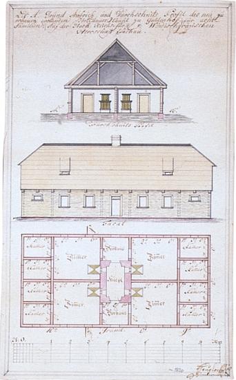 Projekt ubytovací stavby pro celkem osm (!) dřevorubeckých rodin v osadě Jalový Dvůr od tesařského mistra Georga Heuplera někdy z počátku 19. století
