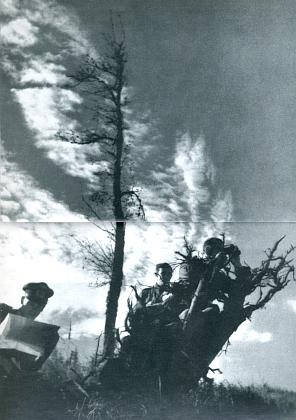 """Na snímku z nacistické propagační publikace hledí """"z boubínské výšiny daleko do Čech"""" průzkumníci wehrmachtu v říjnu 1938"""