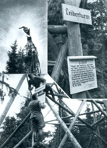"""Takto na snímku z téže publikace """"vyzdobili"""" boubínskou rozhlednu vojáci wehrmachtu v říjnu 1938"""