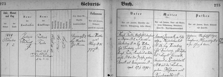 Záznam o narození jejího otce v hořické křestní matrice s pozdějším přípisem o jeho zdejší svatbě s Marií Wallnerovou