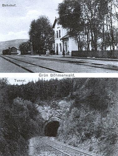 Pohlednice zachycující nádraží v Zelené Lhotě a také tunel, o němž je v Rücklově básni rovněž zmínka