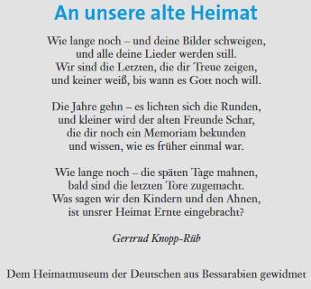 Autorkou básně, kterou ve trochu změněném znění uvádí, je podle citace včasopise Němců z Besarábie Gertrud Knopp-Rübová