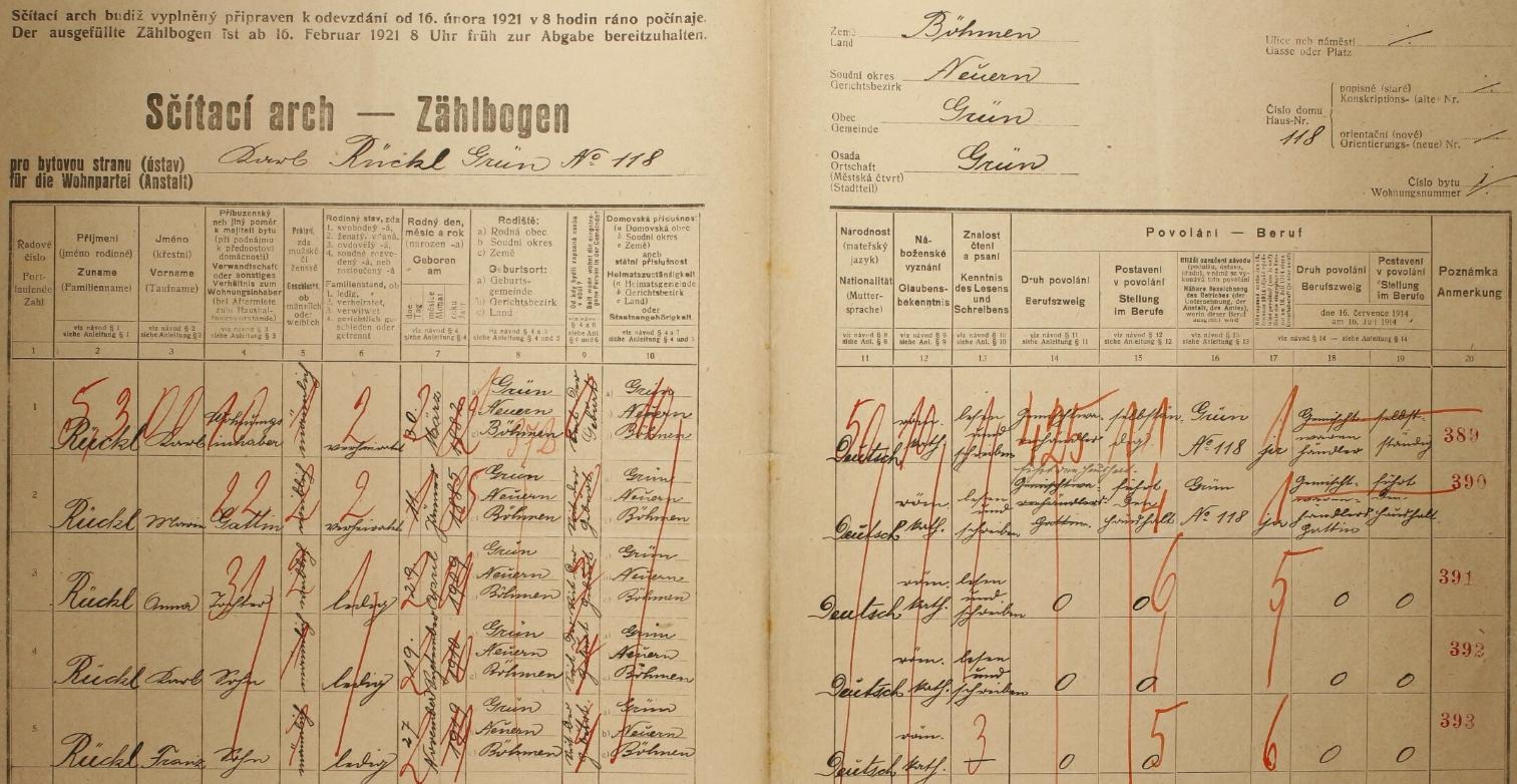 Arch sčítání lidu z roku 1921 pro dům čp. 118 v Zelené Lhotě zachycuje kromě Karla (*1882) a Marie (*1885) Rücklových i jejich děti - v roce 1910 narozený Karl by mohl být Rolandovým otcem, jiný Rückl tohoto jména a odpovídajícího věku v obci nežil