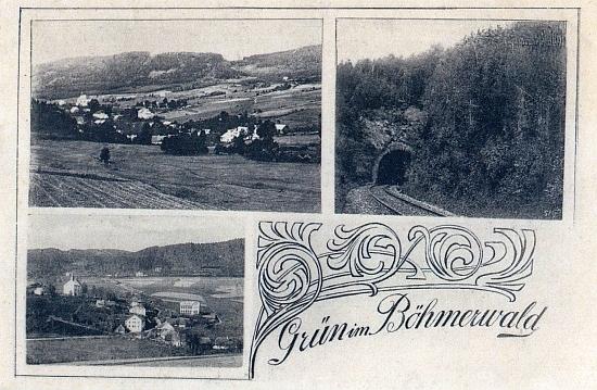 """Složená pohlednice Zelené Lhoty """"na Šumavě"""""""