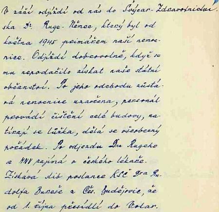 Kronika města Volar zaznamenává odchod Rugeho v září 1947 do Švýcarska