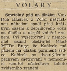 Zpráva českého listu Hlas lidu z roku 1947 svědčí o Rugeho volarském působení