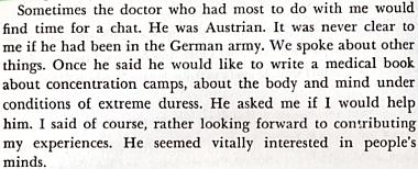 """Odstavec z knihy Gerdy Weissmann-Kleinové """"All But My Life"""" o autorčiných rozhovorech s Rugem (viz i Willibald Plach)"""