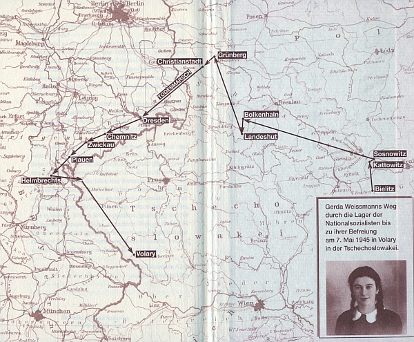 Cesta Gerdy Weissmannové do Volar na předsádce německého vydání její knihy