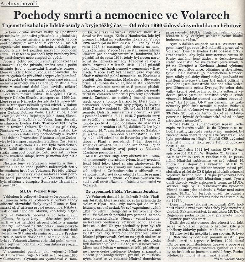 Archivář Václav Starý mu věnoval tento cenný text