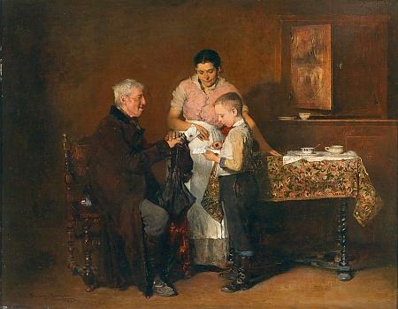 """Obraz z roku 1882 pod názvem """"Dopis"""""""