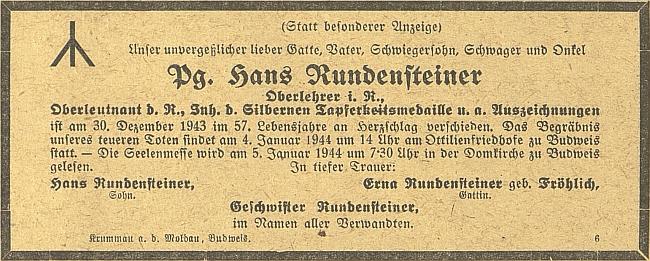 Parte v českobudějovickém německém listu