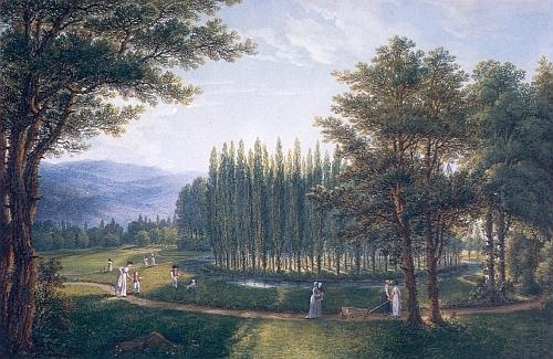 Tzv. Topolový ostrov v parku při Červeném Dvoře na jeho obraze z roku 1803