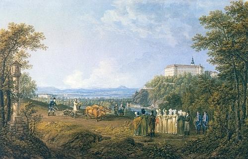 """Car Alexandr I. oře v říjnu 1815 pod zámkem Hluboká, zachyceném tu nad řekou Vltavou ještě před svou """"tudorovskou"""" přestavbou"""
