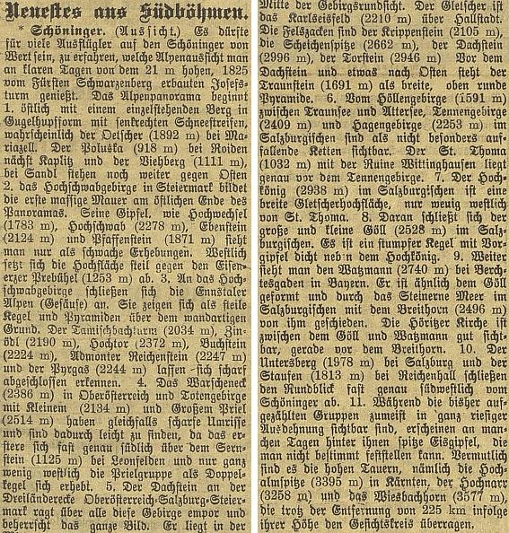 Popis výhledu z rozhledny na Kleti v jednom z čísel českobudějovického německého listu, publikovaný tu v červenci válečného roku 1918, byl i zřejmým výrazem rakouského vlastenectví