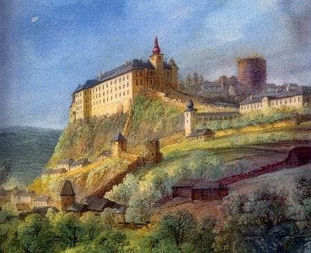 Takto zachytil na jednom ze svých obrazů starší podobu vimperského zámku (viz i Rudolf Heske)