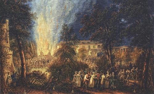 Tady zachytil na kvaši z roku 1811-1812 požár dřevěného pavilonu na rakouském velvyslanectví v Paříži 1. července 1810, při němž zahynula kněžna Pauline, těhotná tehdy s už desátým svým potomkem schwarzenberského rodu