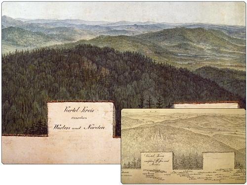 Výřez Runkova barevného panoramatu z věže rozhledny na Kleti spřiloženou perokresbou