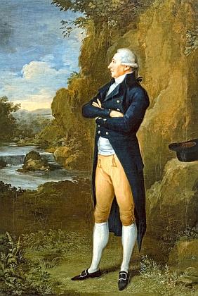 """Obraz Josefa Berglera mladšího (1753-1829) z roku 1802 zachycuje tehdy osmatřicetiletého Runka ve """"stříbrné"""" paruce na působivém krajinném pozadí"""