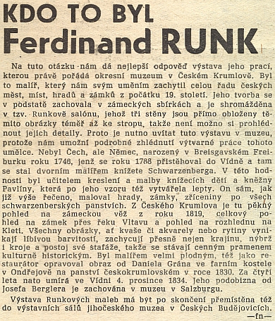 Článek archiváře Františka Navrátila k výstavě Runkových prací v českokrumlovském muzeu zmiňuje ijeho podobiznu od Josefa Berglera