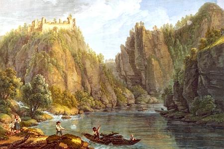 Zřícenina hradu Dívčí Kámen na jeho obraze